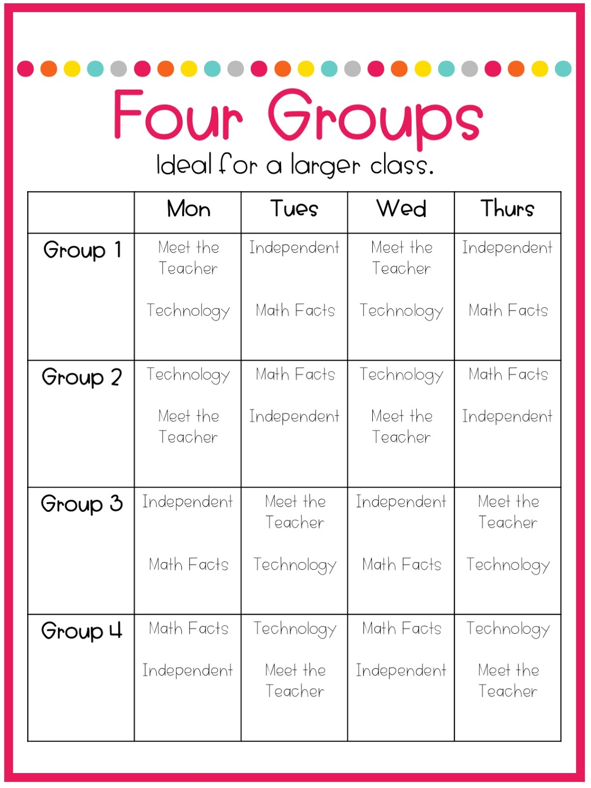 Part 3 Schedules For Math Centers