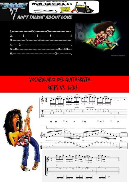 RIFFS VS. LICKS. Vocabulario para guitarristas.