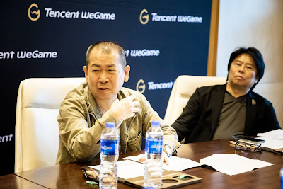Shenmue 3 director Yu Suzuki (left) and animation producer Hiroaki Takeuchi (right)