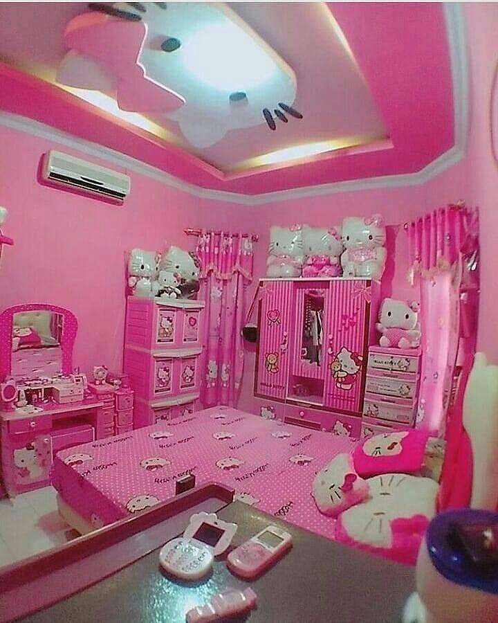 35 Desain Kamar Tidur Hello Kitty untuk Anak Perempuan ...