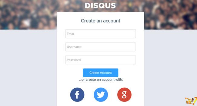 Tela de criação da conta. Preencha os campos e-mail, username e password e clique em Create Account ou conecte-se a uma rede social para seguir com a criação da conta.