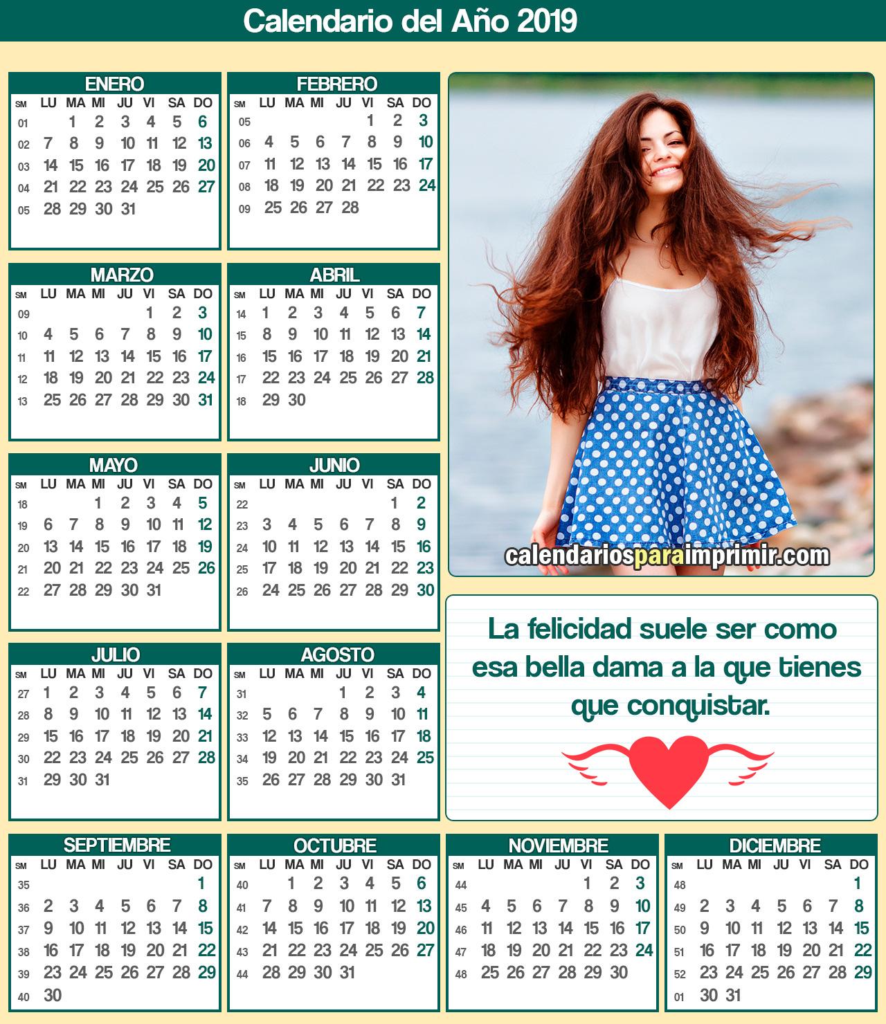 calendario para imprimir 2019 felicidad