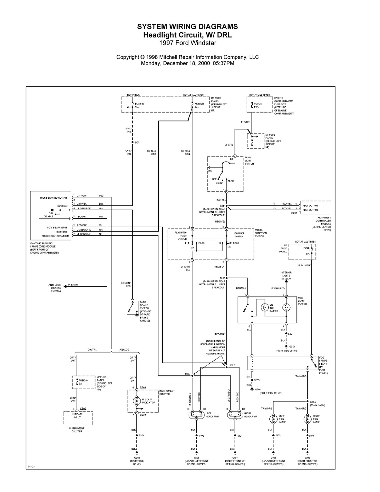 Complete System Wiring Diagrams 1997 Ford Windstar Real 1995 Diagram Engine 2003 Fuse
