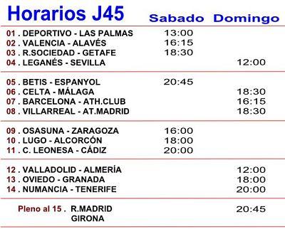 Horario de los Partidos de la Quiniela de Futbol de España