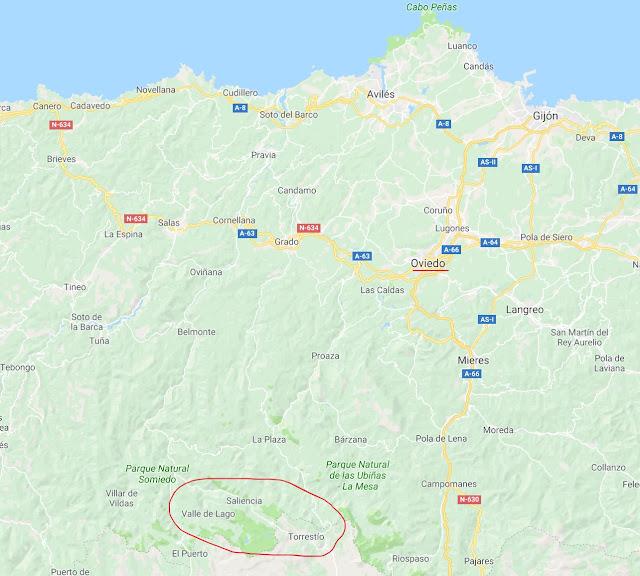 Localización de los Lagos de Saliencia en Asturias