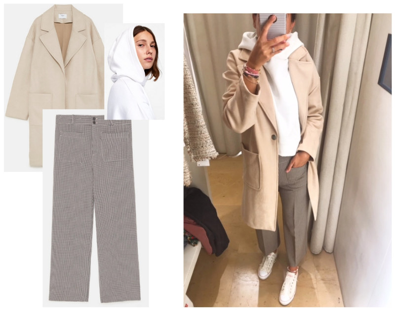 outfit zara nueva temporada otoño pantalon tobillero ancho cuadros sudadera blanca capucha chaqueta abrigo efecto ante espiga sneakers zapatillas converse blancas