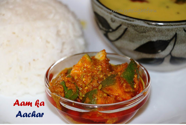 Quick Raw mango pickle, Gujarati achar recipe