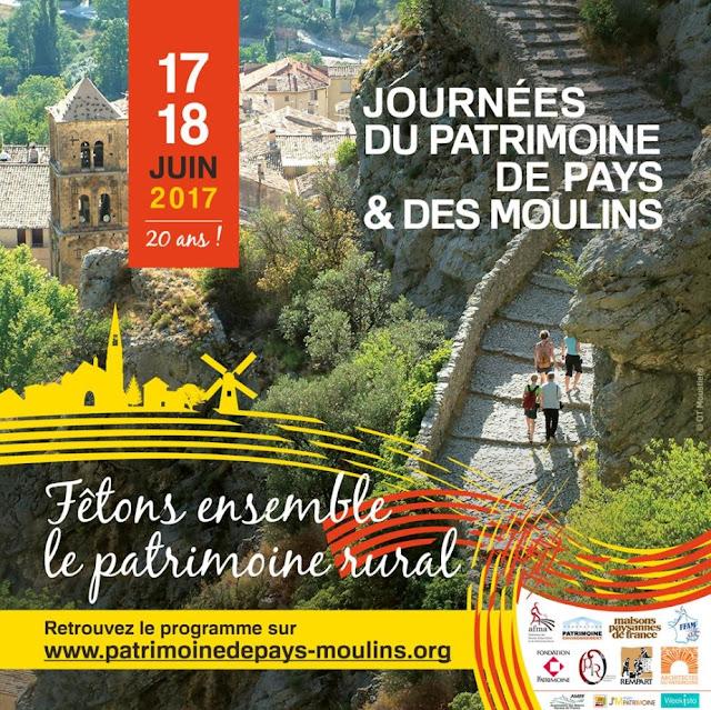JOURNEES DU PATRIMOINE DE PAYS ET DES MOULINS (17 et 18 juin 2017)