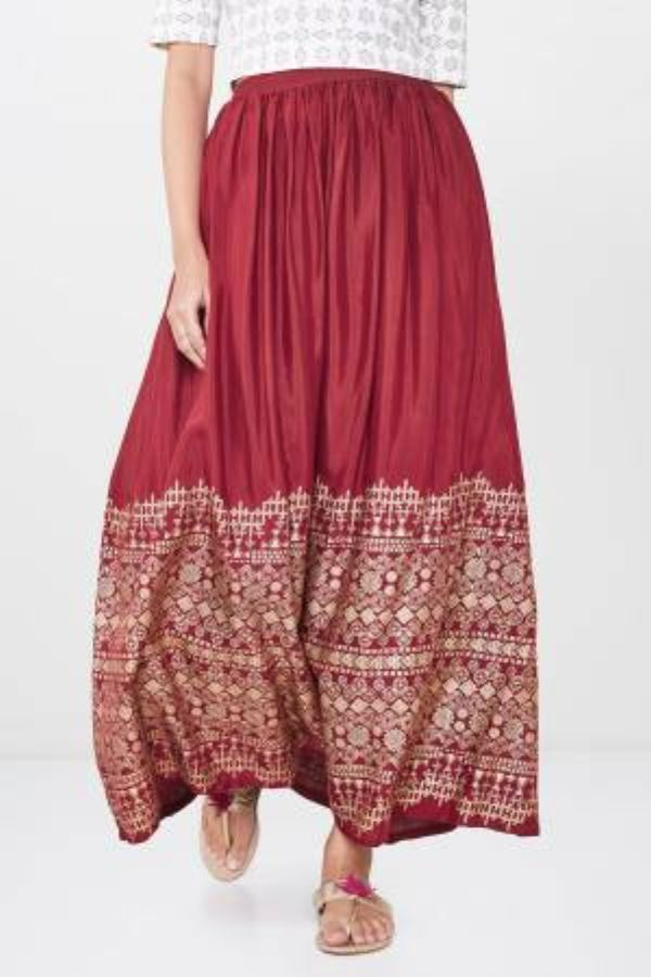Red Geometric Foil Print Skirt