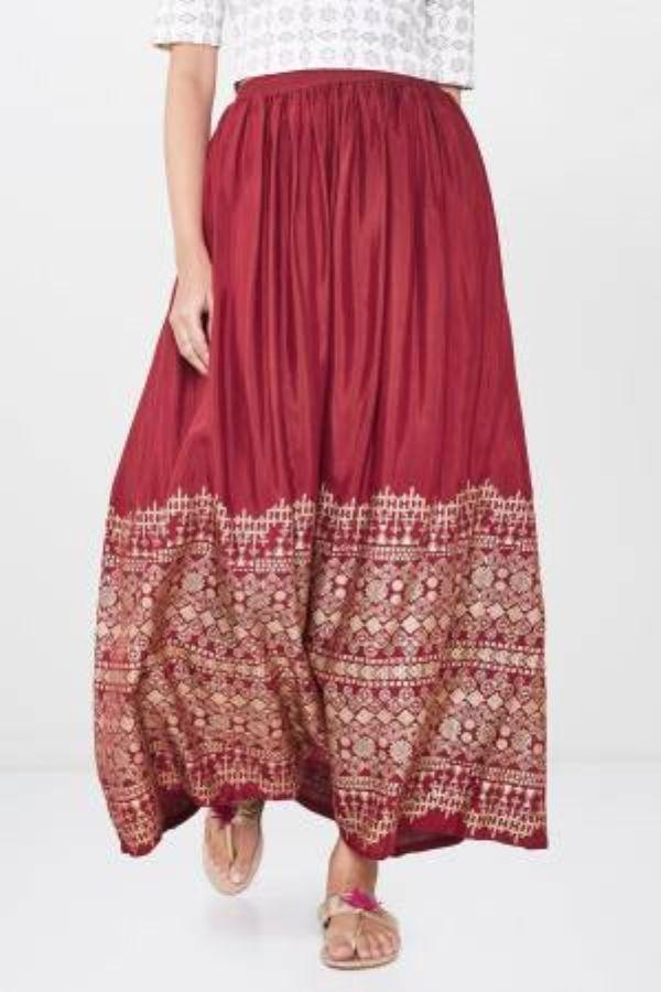 Red Geometric Foil Print Skirt