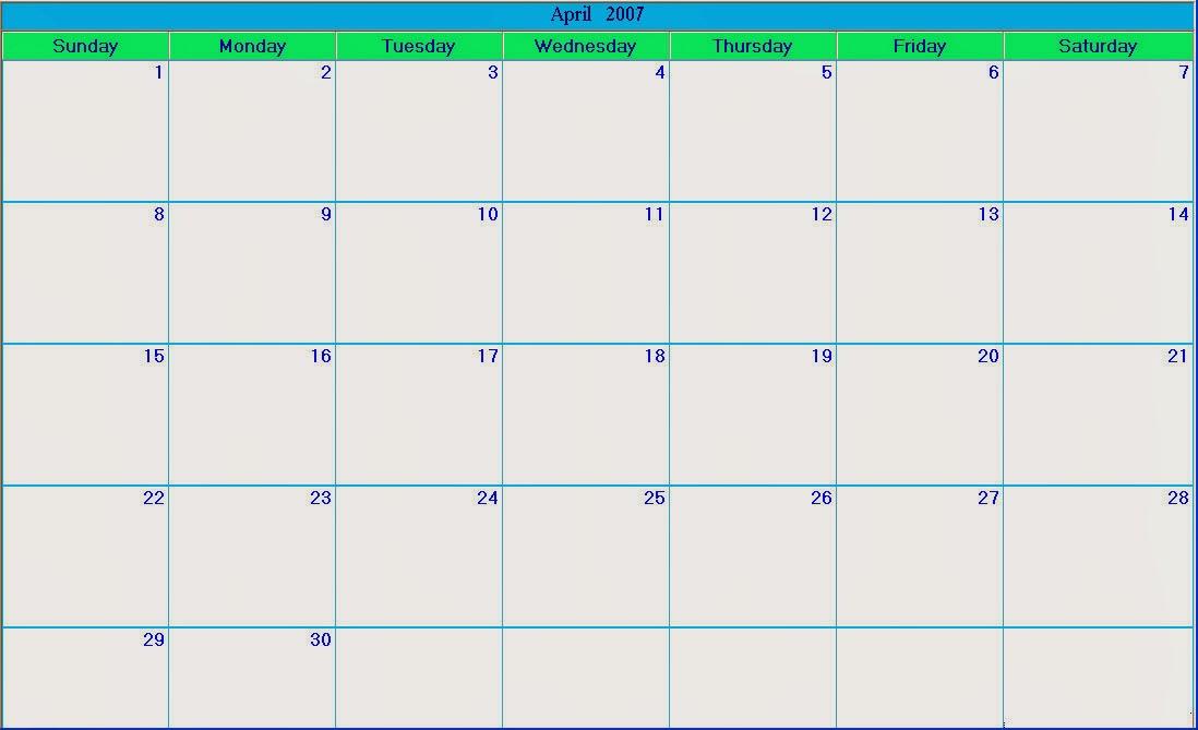 Blank Calendar Big Squares : Blank calendar