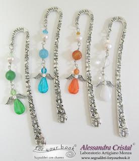 segnalibri metallo ciondolo angelo colorato pietre dure cristalli
