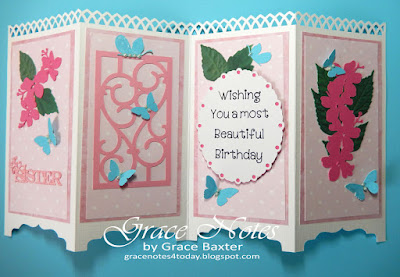 Screen-style card, opened flat. Designed by Grace Baxter