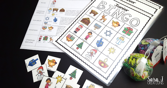 Holiday #Bingo so students can learn about #Christmas, #Hanukkah, #Kwanzaa and #Diwali in a fun game. 30 different game boards plus brief explanation of the different holidays and vocabulary words. #sarajcreations