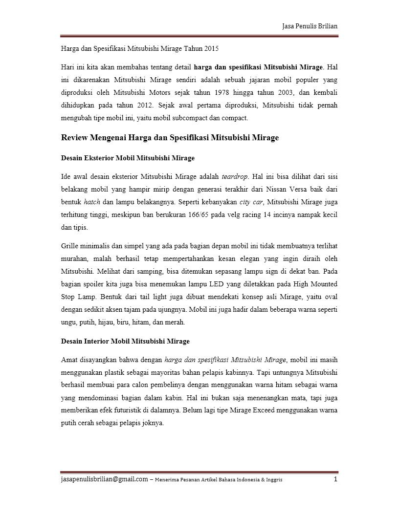 Contoh Artikel Jasa Penulis Brilian Mitsubishi Jasa Penulis Brilian