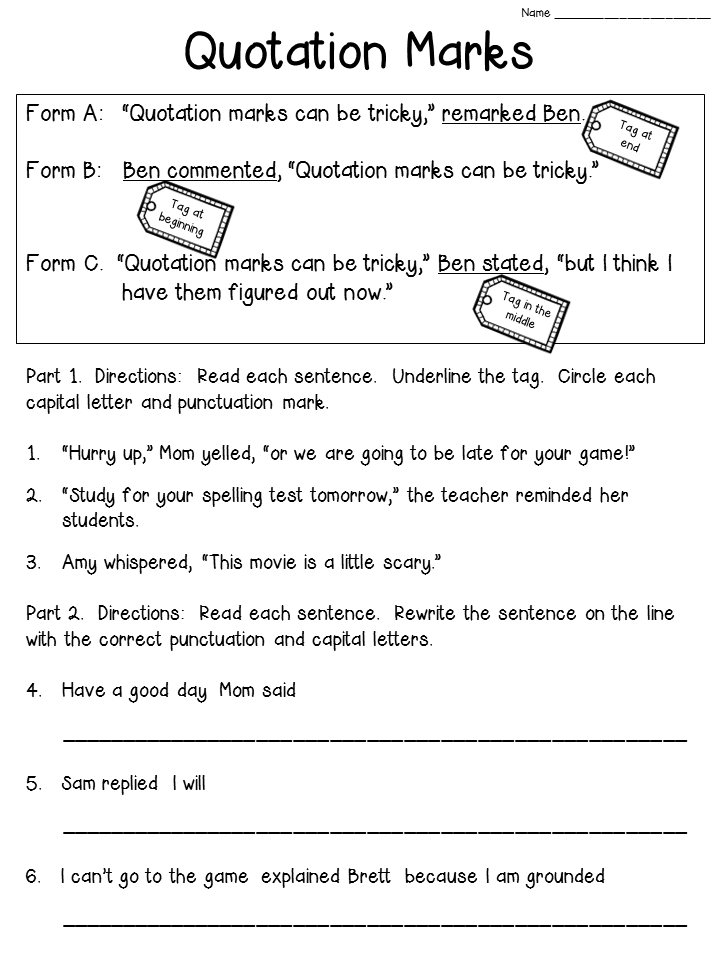 Crafting Connections: Quotation Marks Anchor Chart (with FREEBIE)