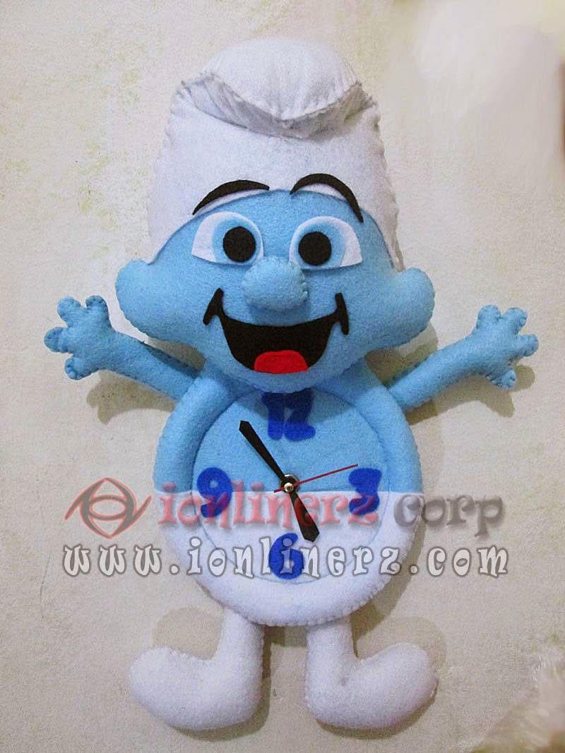 Jam Dinding Flanel Karakter Kartun Boneka Smurf