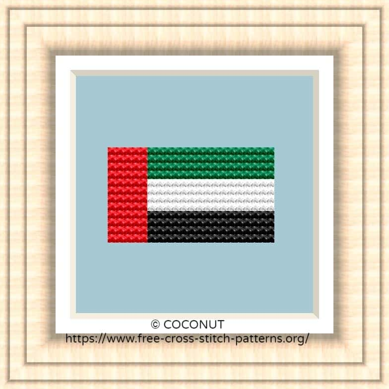 NATIONAL FLAG OF UNITED ARAB EMIRATES CROSS STITCH CHART