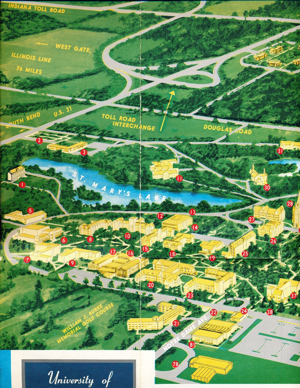 Lourdes University Campus Map.Ca 1968 University Of Notre Dame Campus Guide And Map By John