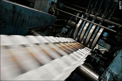 Printing Lacks Of Newspaper From The Machine