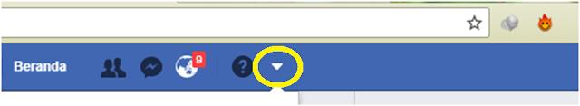 Tanda Panah Kebawah Facebook