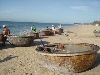 Coracle fishing boats at Mui Ne Bay, Vietnam