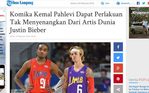 Capture dari Portal Berita Tribun Lampung