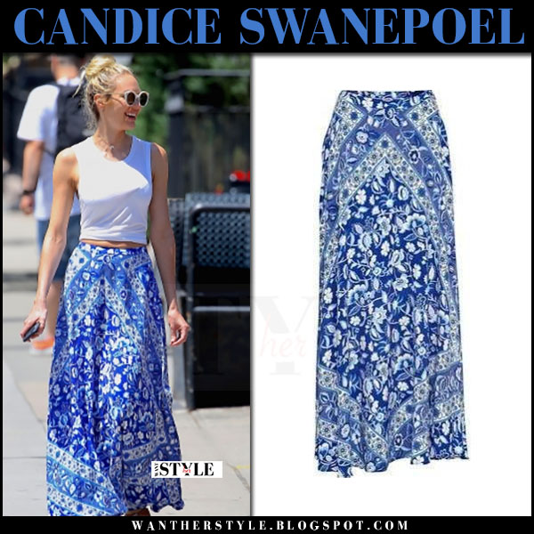 Candice Swanepoel in blue floral print maxi skirt what she wore may 17 2017