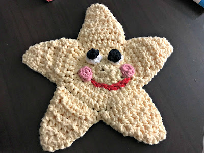February 5, 2018 Finishing this Star fish facecloth for Avery my Great Niece