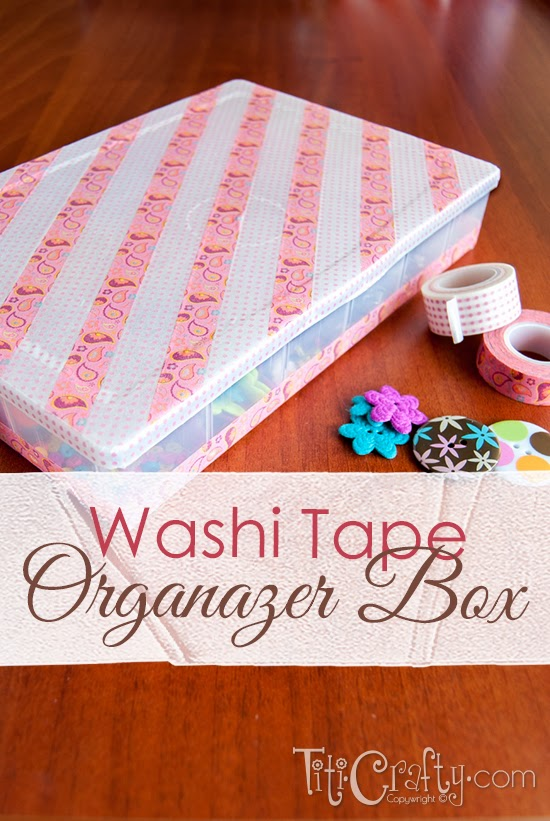 Washi Tape Organizer Box, keep your supplies organized in this cute #WashiTape box! Super easy tutorial on https://ThisSillyGirlsLife.com