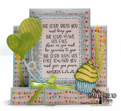Our Daily Bread Designs Stamp/Die Duos: All God's Blessings, Custom Dies: Center Step Card, Center Step Layers, Birthday Balloons, Birthday Candles, Lavish Layers, Paper Collection: Birthday Bash
