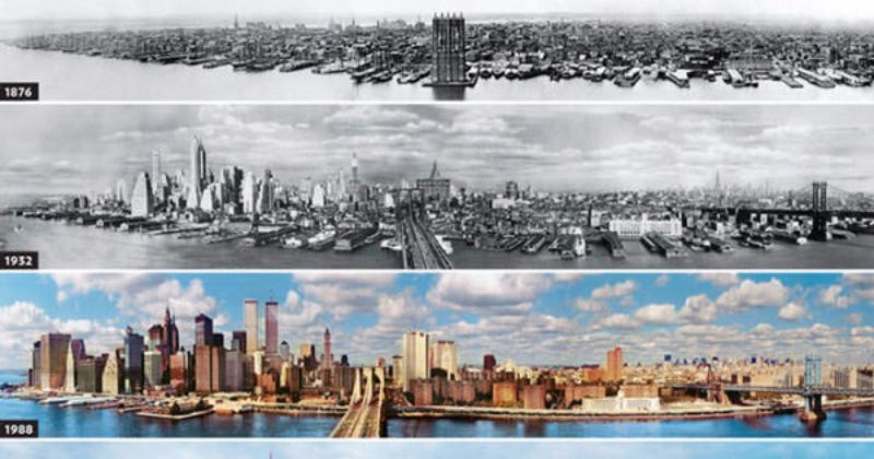 Stunning Then-and-Now Photos Show How Much 20 Popular City Skylines Have Changed Over Decades
