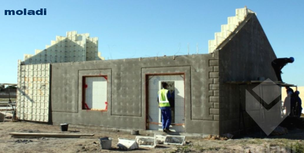 Worlds smallest formwork module moladi for Low cost home construction