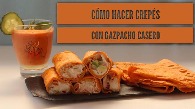 receta Crepes de Gazpacho andaluz rellenos de queso y cangrejo
