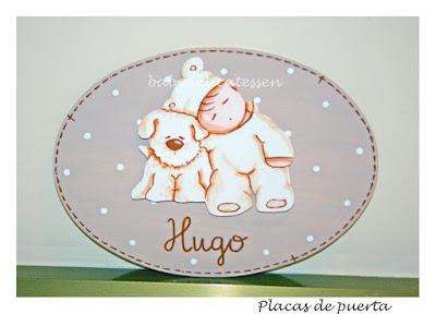 placa de puerta infantil bebé con perrito babydelicatessen