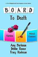 portions of what look like a board game, including dice, are shown on the cover, as well as a knife and pool of blood