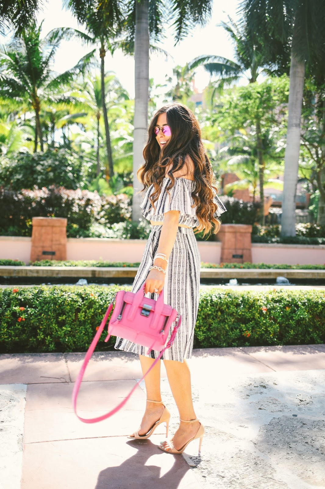 pink ray ban aviators, fuchsia ray ban aviators, ASTR two piece set, striped skirt and crop top outfit, pink phillip lim mini, fushica phillip lim mini, atlantis bahamas, emily gemma blog, the sweetest thing, phillip lim pashli mini, brunette balayage, bellami balayage extensions