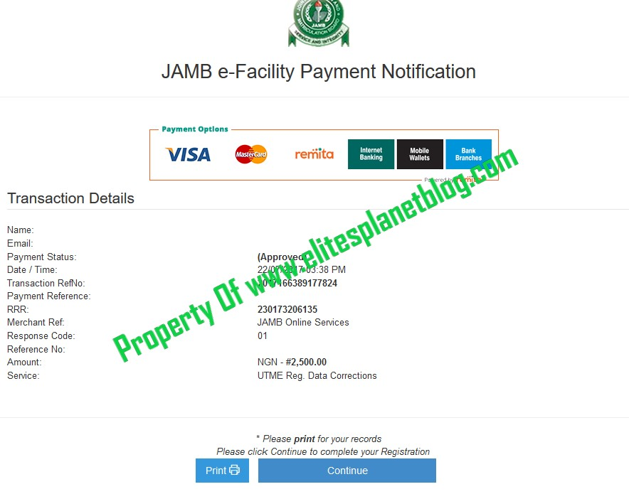JAMB Change of Course/Institution Payment Slip