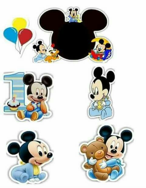 Mickey First Birthday Free Printable Cake Toppers.