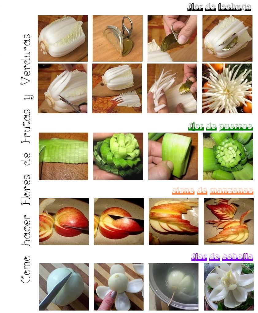 Como hacer Flores de Frutas y Verduras