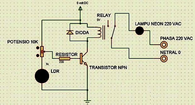 Rangkaian Sederhana Saklar Lampu Otomatis LDR