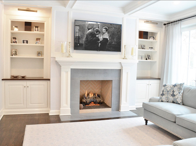 Decorated mantel room of the week traditional kitchen for Family room built in cabinets