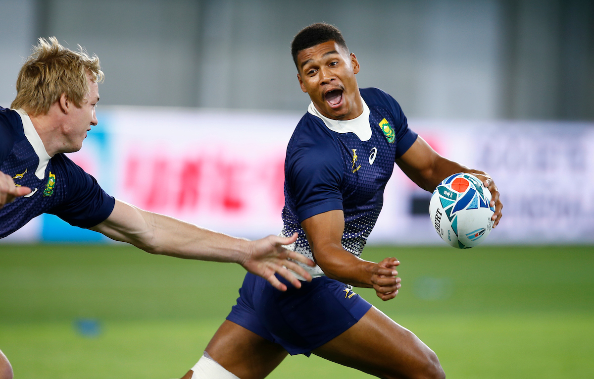 Damian Willemse during the South Africa Captain's Run at the Kobe Misaki Stadium Monday 7th October 2019