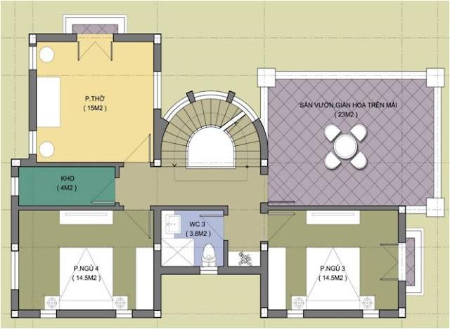 Thiết kế tầng 3, Biệt thự Embassy garden - Mẫu số 1