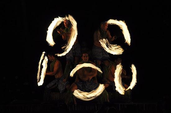 Maui luau fire knife dancers