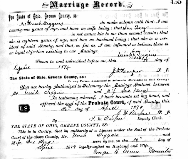 marriage record Uriah Figgins and Susan Berg Figgins