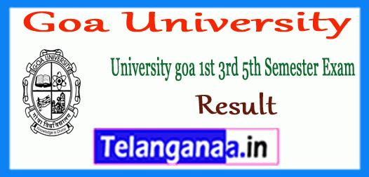 Goa University 1st 3rd 5th UG Semester Result
