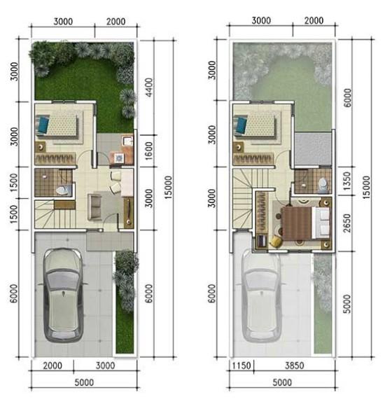 Contoh Denah Rumah Kantor  lingkar warna 2 denah rumah minimalis ukuran 5x15 meter 3