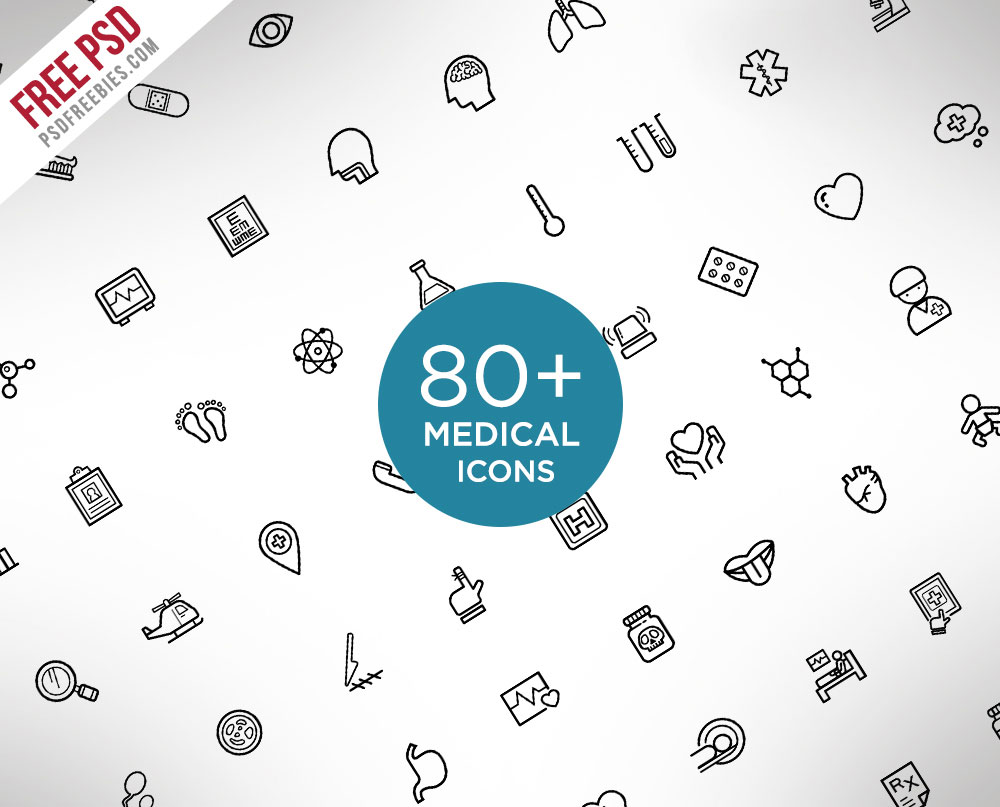 80+ Medical and Science Outline Icon Set