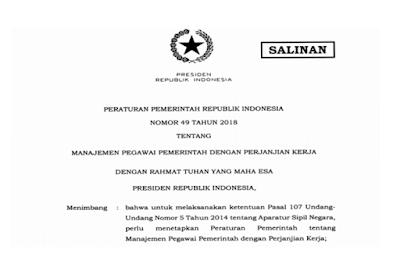 Syarat Pendaftaran PPPK  K 2 Peraturan Pemerintah (PP) Nomor 49 Tahun 2018